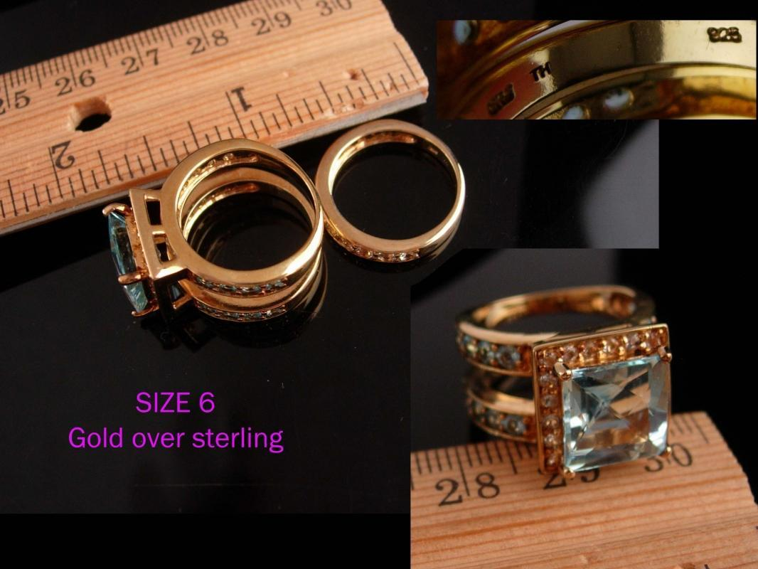 HUGE designer ring set - 2 piece blue topaz - Sima K - couture Cocktail gold sterling eternity bandRing /  Size 6 -anniversary