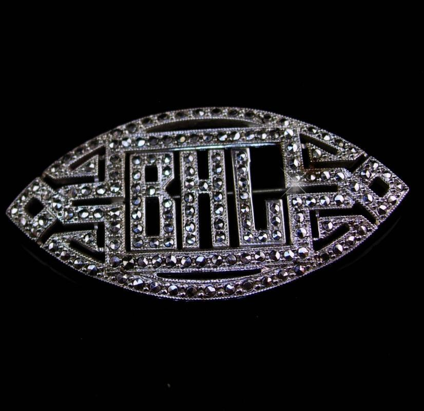 Fancy vintage Sterling brooch - Antique silver Marcasite pin - Initial letter BHL personalized - art deco jewelry
