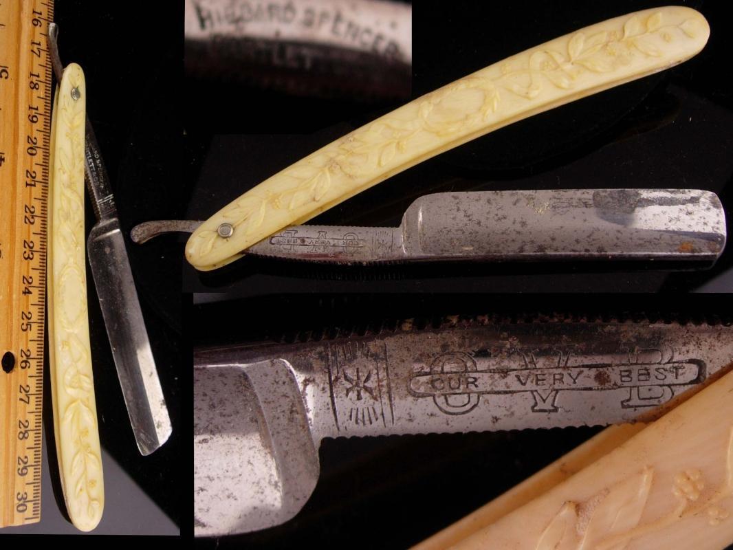 Antique Barbershop set  - Vintage Shaver Razor little joe colt - Pearl Duck - Hibbard Spencer - bakelite handle - mens barber gift