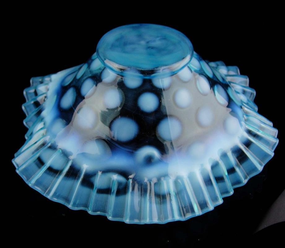 Light blue crimped ruffled edge Bowl / large vintage 9