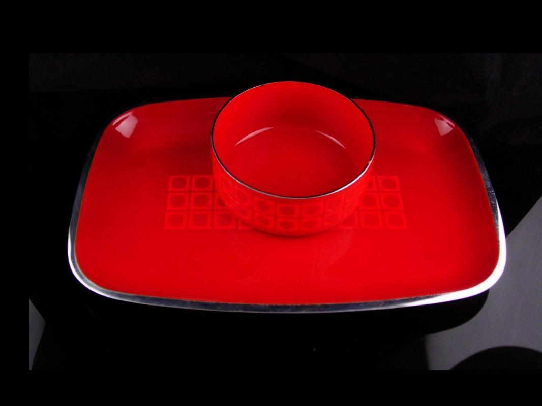 RED Silit Bowl and tray - Vasarely pattern - Germany enamel set - serving tray and bowl