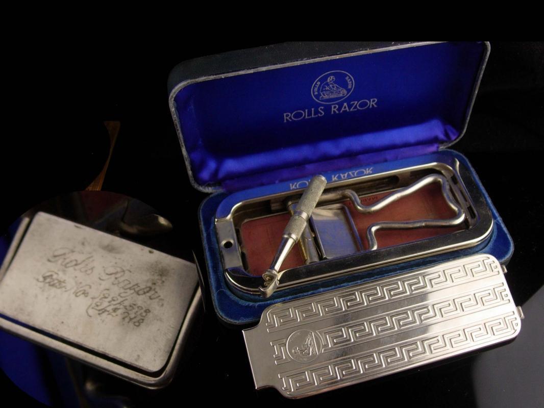 Antique Barbershop set - engine turned case - England Vintage rolls Shaver Razor  mens barber gift