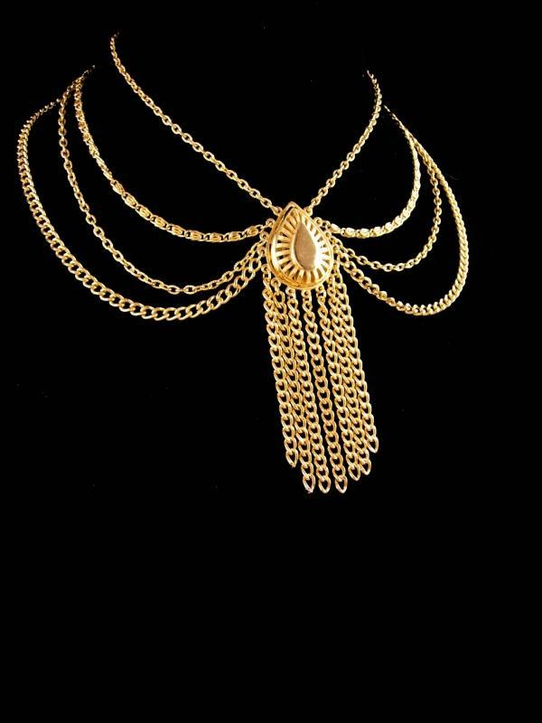 Vintage Edwardian style necklace - statement bib choker - exotic jewelry - gold tassel drop