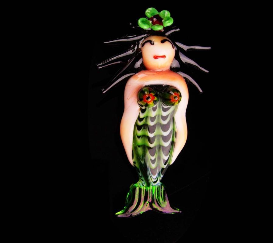 Vintage Mermaid ornament - signed hand blown - Nautical goddess - mythical sea creature - whimsical siren sea creature