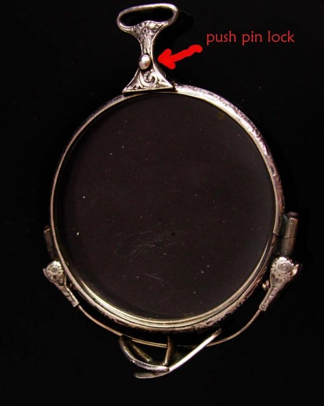 Antique 14kt white gold folding lorgnette spectacles - 1917 jan 30 Victorian Chatelaine eyeglass - ornate etchings