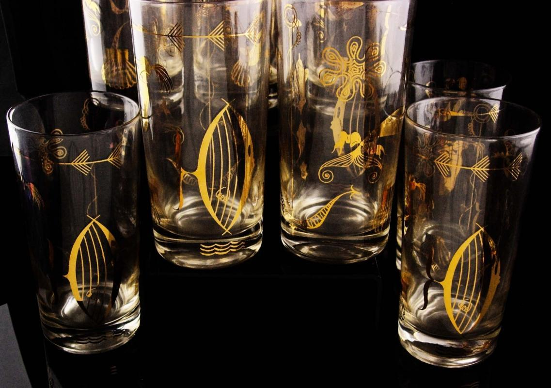 Vintage Mermaid glasses - Mid century Modern - erotic novelty barware - Vintage bartender naughty set of 8 - gold nautical fish libbey set