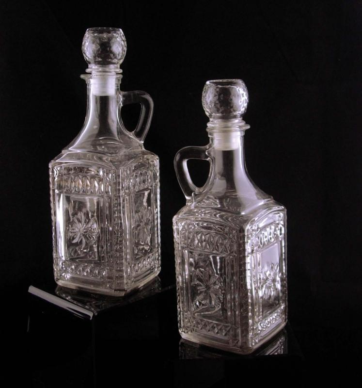 Vintage Whiskey bottle set - fancy glass cruets - wedding gift - pressed crystal barware - Scotch Bourbon glass - Sherry bottle