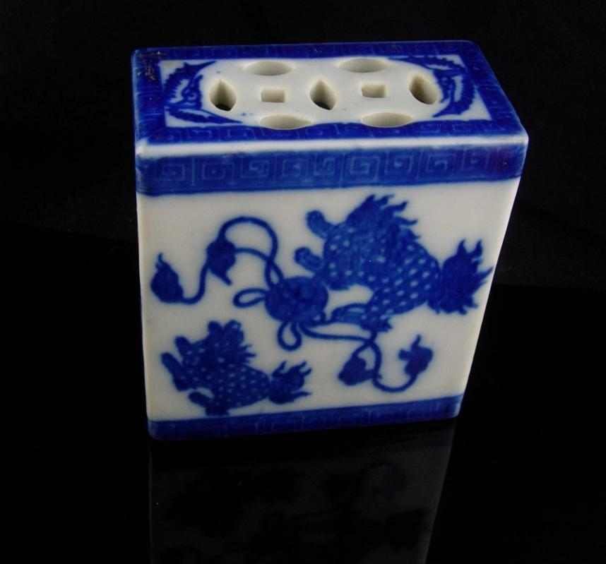 Antique Foo Dog opium pillow - vintage mythical protectors - chinese guardian lion - Fu Dog pottery - blue white - flower frog- housewarming