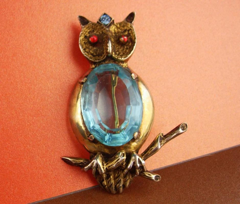 huge sterling pin - blue Jelly belly Owl Brooch - vintage bird pin Figural fine jewelry teacher gift ophthalmology ophthalmologist gift