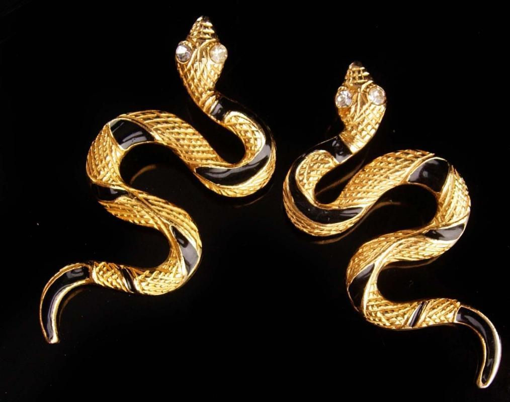 Vintage Snake Earrings - rhinestone eyes - gold Black stripes - cleopatra serpents -  Statement Egyptian goddess long pierced earrings