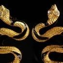 Vintage Snake Earrings - rhinestone eyes - gold Black stripes - cleopatra serpents -  Statement Egyptian goddess long pierced earrings