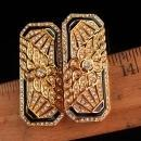 art deco style earrings - large statement set -  long filigree clip on earrings - anniversary gift