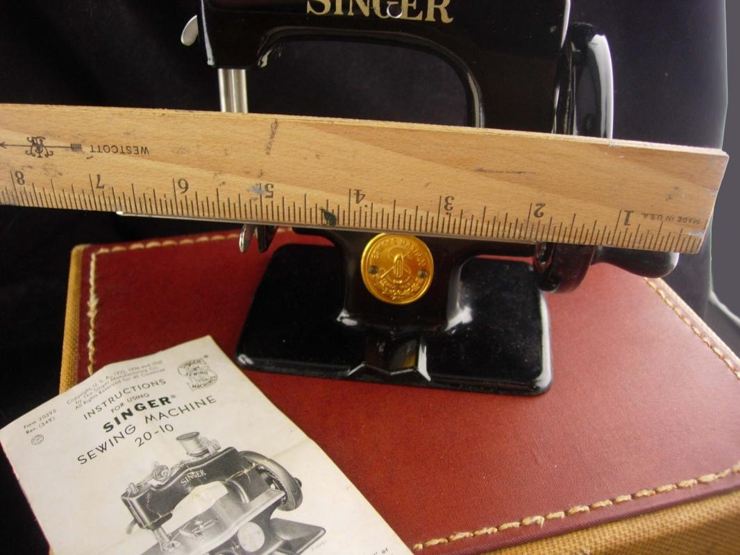 Antique SEWING Machine - miniature singer model 20  - gift for Tailor Seamstress - vintage original case - Crafter Quilter Clothing designer