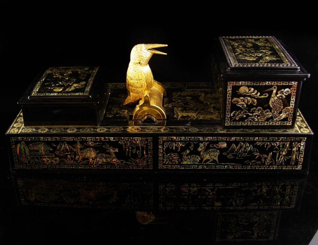 Exotic steampunk raven cigarette box / vintage black gothic desk set - mechanical asian bird / trinket box / vanity dresser accessory