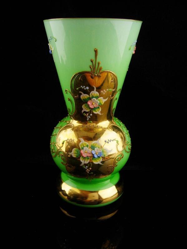 Antique Bohemian Vase - green * gold overlay - hand painted - czech glass  - irish green gift - moser style - wedding vase