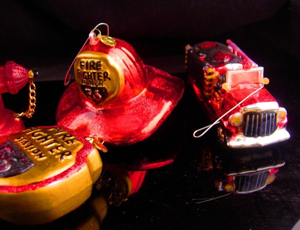 Vintage Fire Fighter Christmas ornaments - Fireman hydrant - Red glass Fire truck - Dept 56 - mens cool gift fireman helmet gift