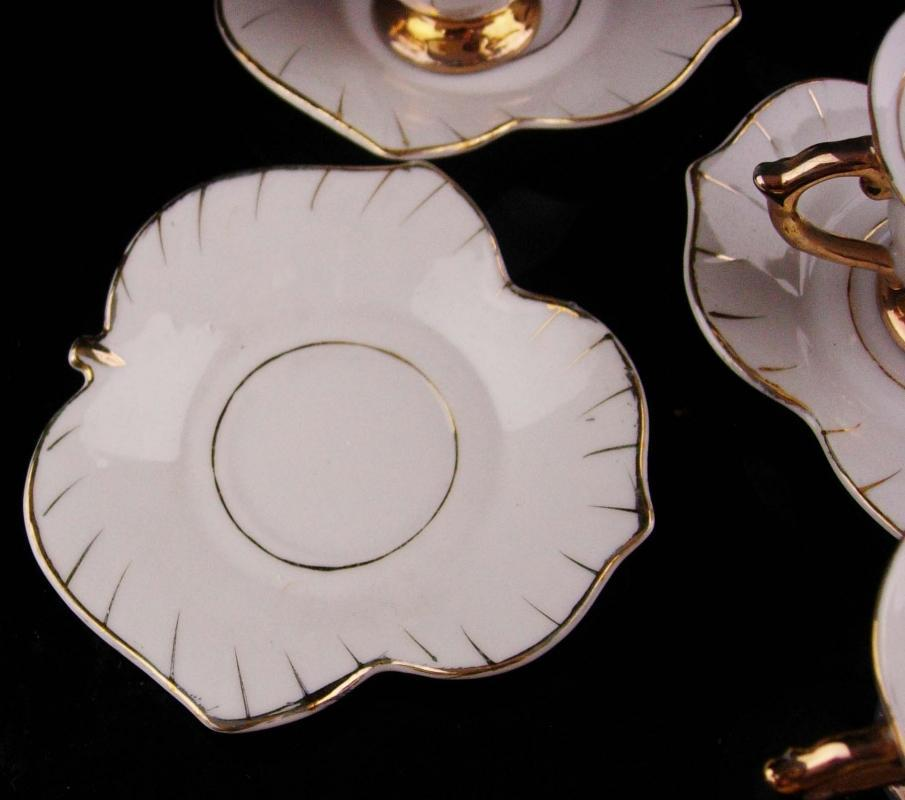 Vintage Miniature Teaset - demitasse cups and saucers -white and gold leaf - 5 cup set