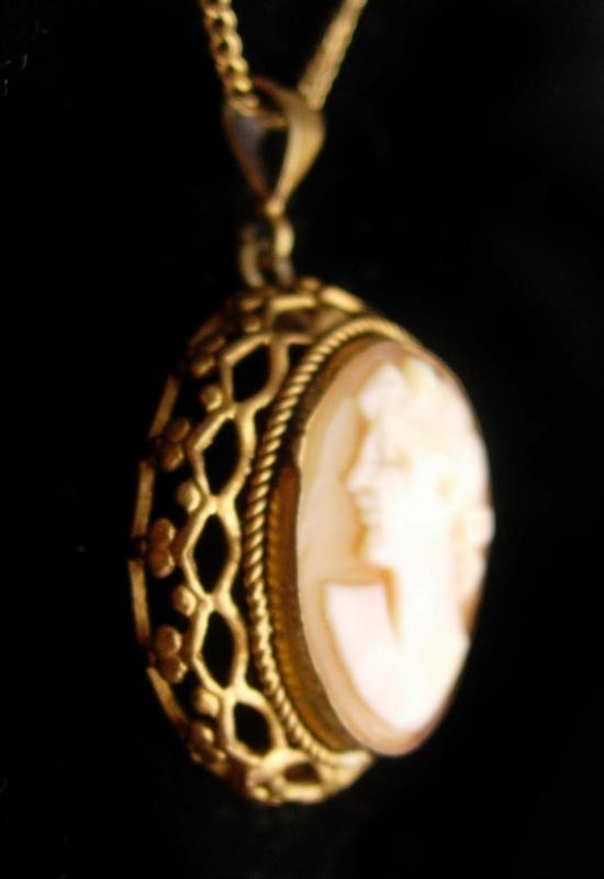 Genuine Cameo necklace - antique cameo pendant - vintage necklace - anniversary gift
