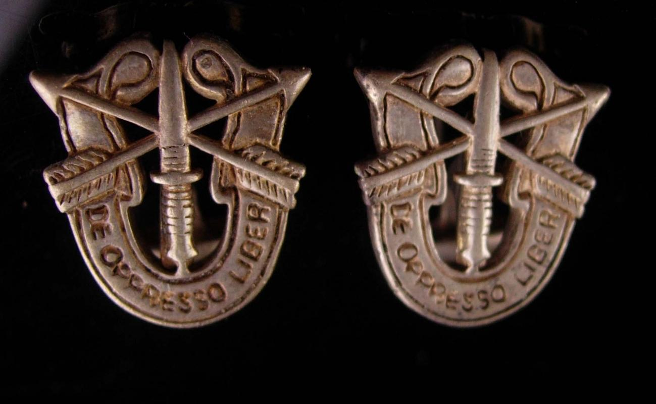Military cufflinks - sterling army set - Special forces - Vintage Cufflinks  - De oppresso liber - retirement gift