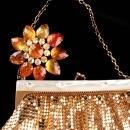 Gold Flapper purse / vintage Whiting & Davis mesh purse / Joan rivers brooch - original  tag - rhinestone jewelry