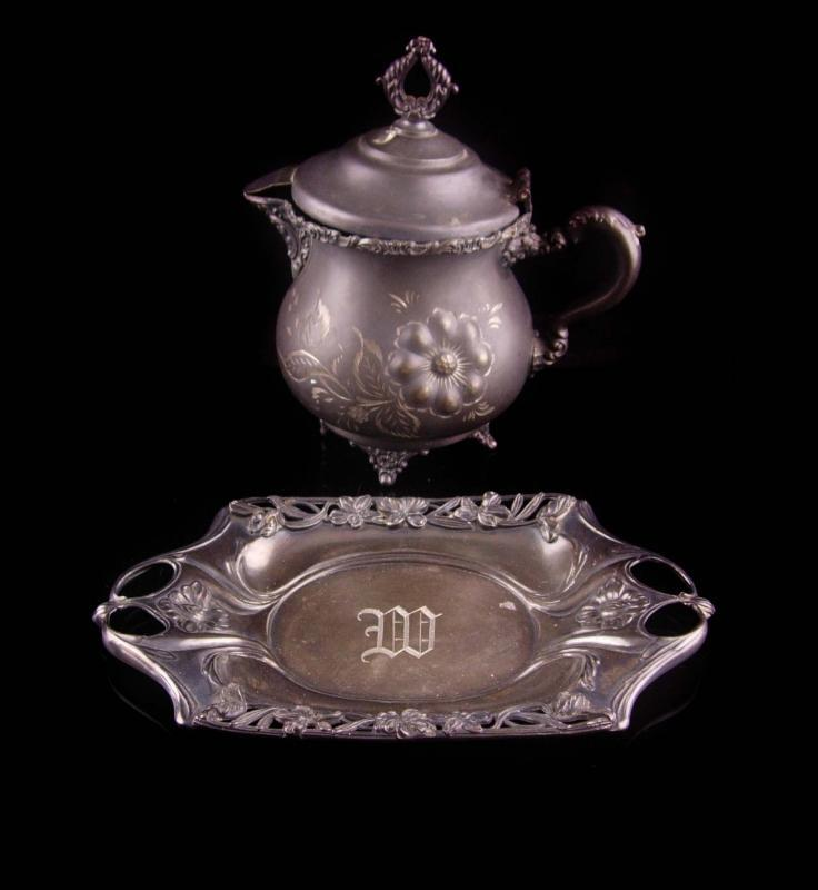 Antique teapot - 1880s monogrammed letter M W - pairpoint mfg co - quadruple plate raised relief medallion etchings vintage serving tray