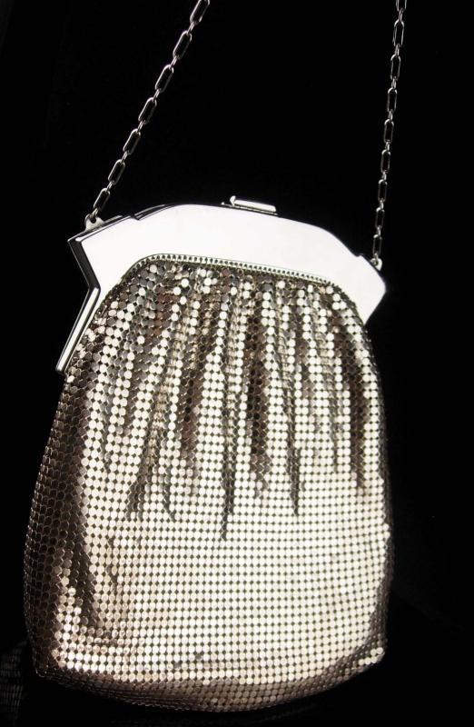 SIlver Flapper purse / vintage Whiting & Davis mesh purse / rhinestone clasp - original  tag  - evening bag