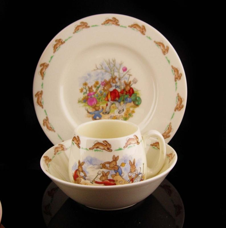 Baby's first christmas - Royal doulton - Vintage bunnykins dinner set - baby cup-  English china - cereal bowl - childs plate - nursery gift