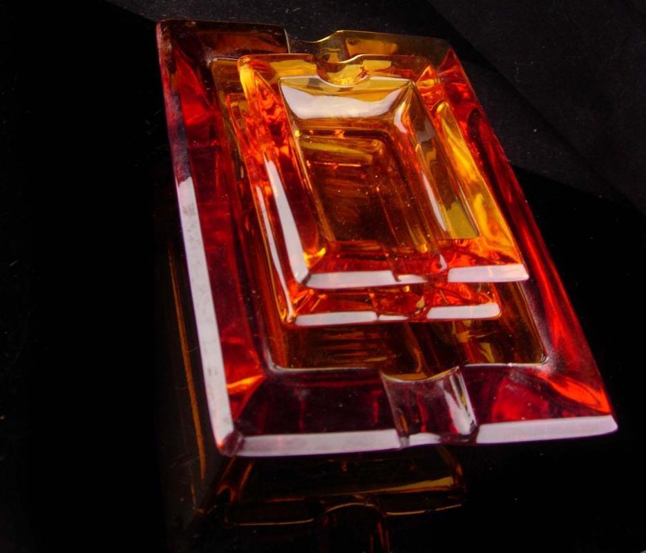 Set of 3  Mid Century Ashtrays - vintage heavy large amber glass -  Orange  Table  set - rectangle three piece set