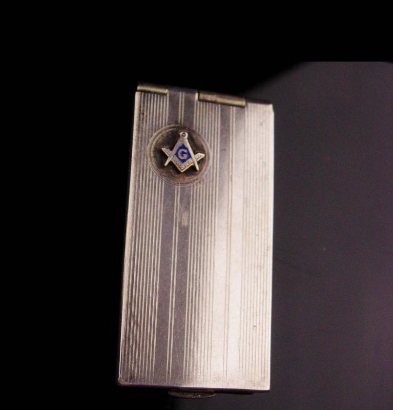 Vintage Art Deco silver Masonic stamp case - saart bros - engine turned striping - vintage fraternal mason freemasonary fob case