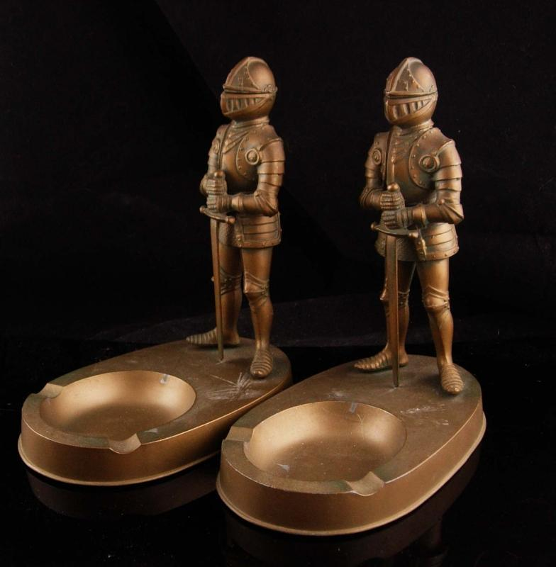 Vintage mechanical bookends / medieval knights / suit of armor ashtray -  brass desk accessory /  Helmets / gift for him / medieval set