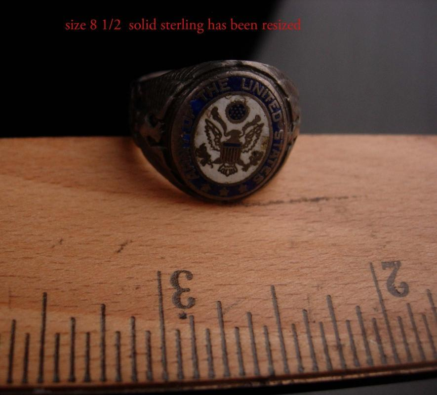 Vintage  Military sterling Mens - army of the united states - Enamel Eagle Ring -  size 8 1/2 - silver ring