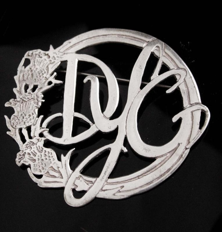 personalized groom gift  thistle Vintage Scotland sterling Brooch Celtic Friendship letter Jewelry Initial DYG scottish kilt pin