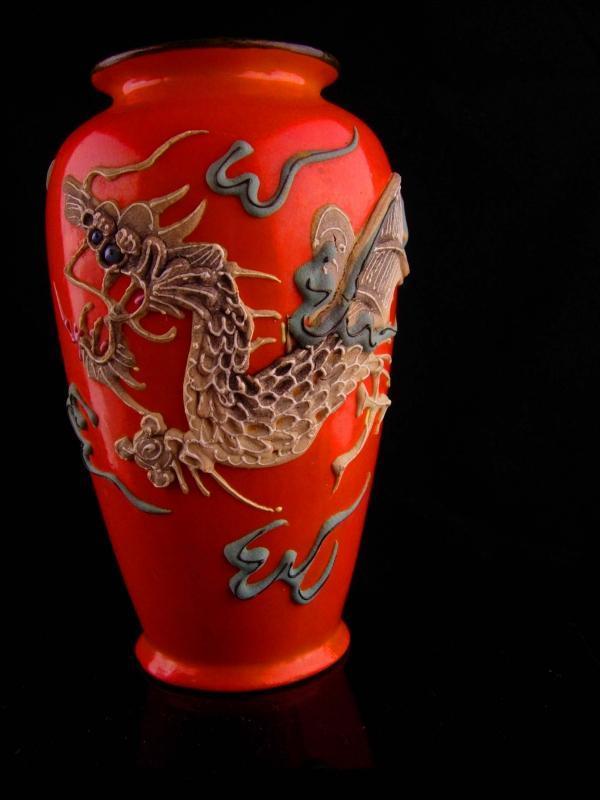 Antique orange dragon Vase and bowl - Japanese Moriage - Dragonware set - vintage signed medieval set - mythical - made in Japan-