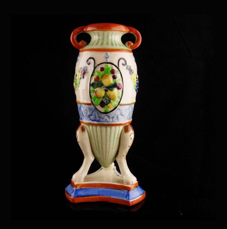 Antique ornate Vase - nippon urn - Japanese hand painted - Vintage signed greek shape footed urn - made in Japan-