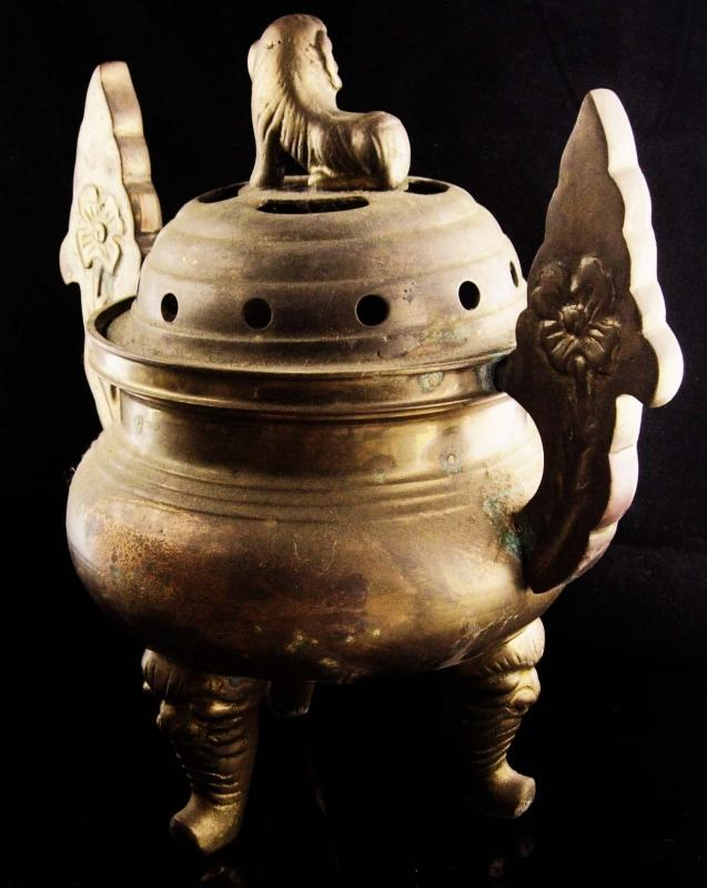 huge Chinese Foo Dog Incense Burner - heavy brass elephant footed stand - large chinese pot -