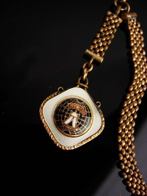 1900s Antique Fob watch chain / Knights of the Maccabees / Victorian vest chain / suit accessory / kotm mother of pearl / vintage mens gift