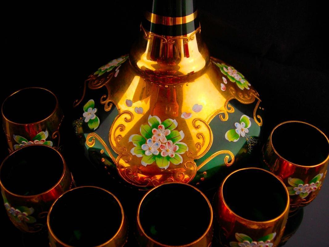 Vintage Bohemian decanter set - Genie bottle-  green Italian shot glasses - vintage Italy hand blown gold - liquor bottle - wedding gift