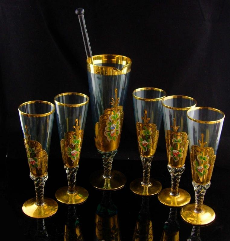 Vintage Bohemian cocktail martini set - green Italian champagne goblets - vintage Italy hand blown 24kt gold - fluted glass - wedding gift