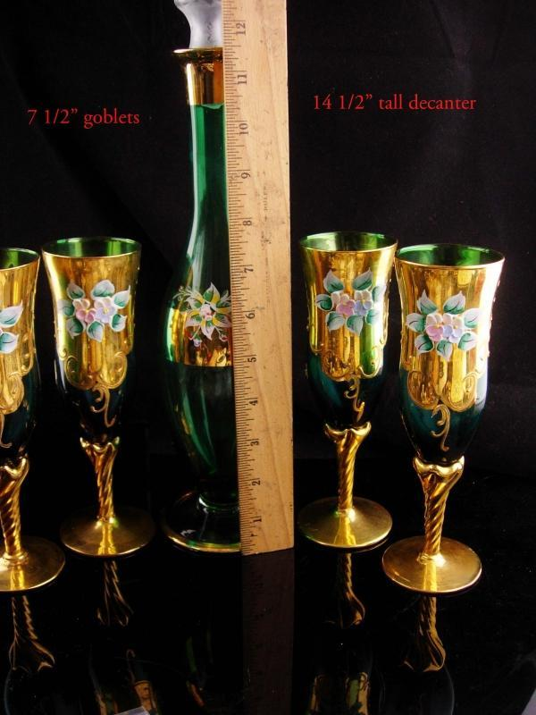 Vintage Bohemian decanter set - blue green Italian goblets - vintage Italy hand blown 24kt gold - liquor bottle - wedding gift