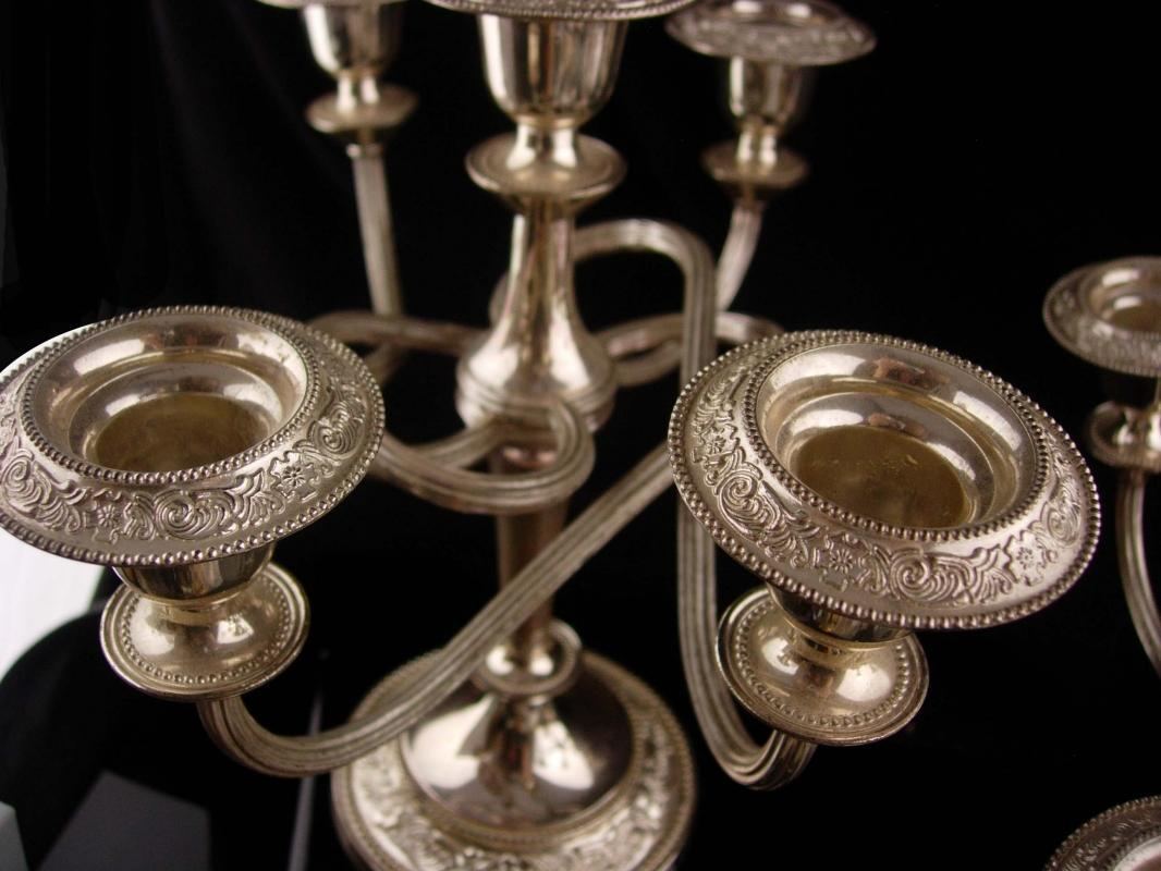 Vintage Pair Love knot Candelabras - gothic recency style - full size Candlesticks - 5 arm Candle holders - haunted silver candelabra set