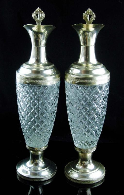 Vintage Pair Italian claret jugs - wine Decanters - pressed crystal water bottle - ewer barware - Made in Italy