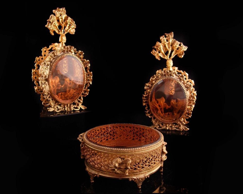 3 pc set - Antique French Perfume Bottles / large Ormolu Jewelry casket -  beveled Amber glass vanity set  / Ormolu Fancy Bottle /