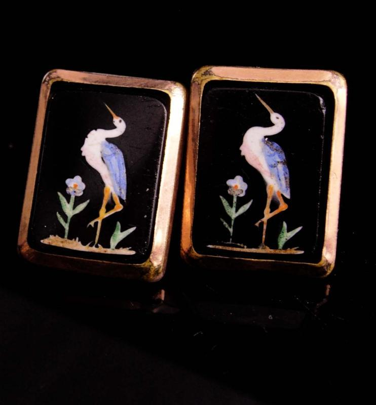 RARE pietra dura Cufflinks - Antique nov 15 1881 - mosiac crane bird set - rose gold plate - heron inlaid button cuff links