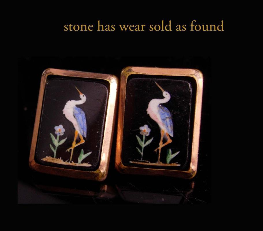 RARE pietra dura Cufflinks - Antique nov 15 1881 - mosiac crane bird set - rose gold plate - heron inlaid button cuff links
