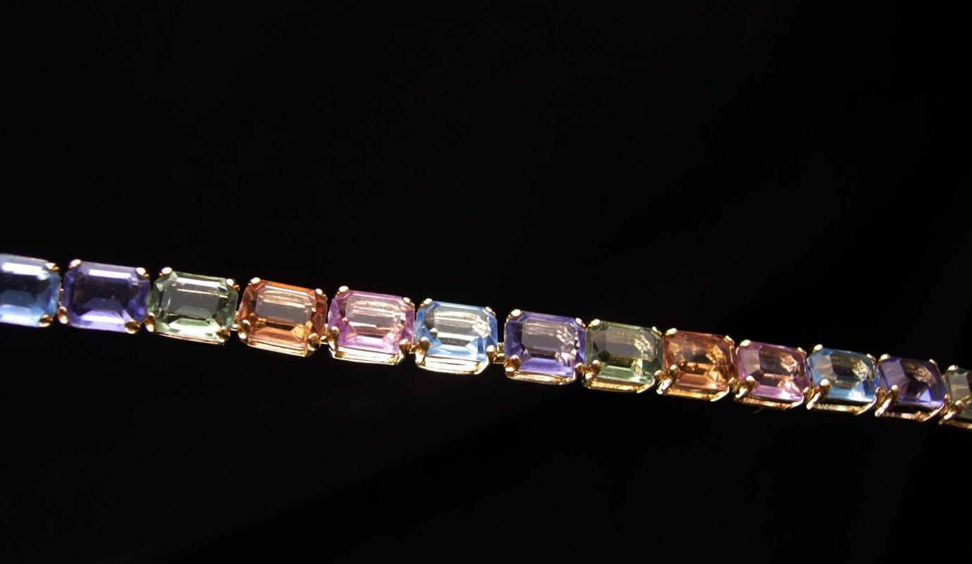 Vintage Monet Bracelet - size 7 1/2 multi color rhinestones - couture jewelry -signed bracelet