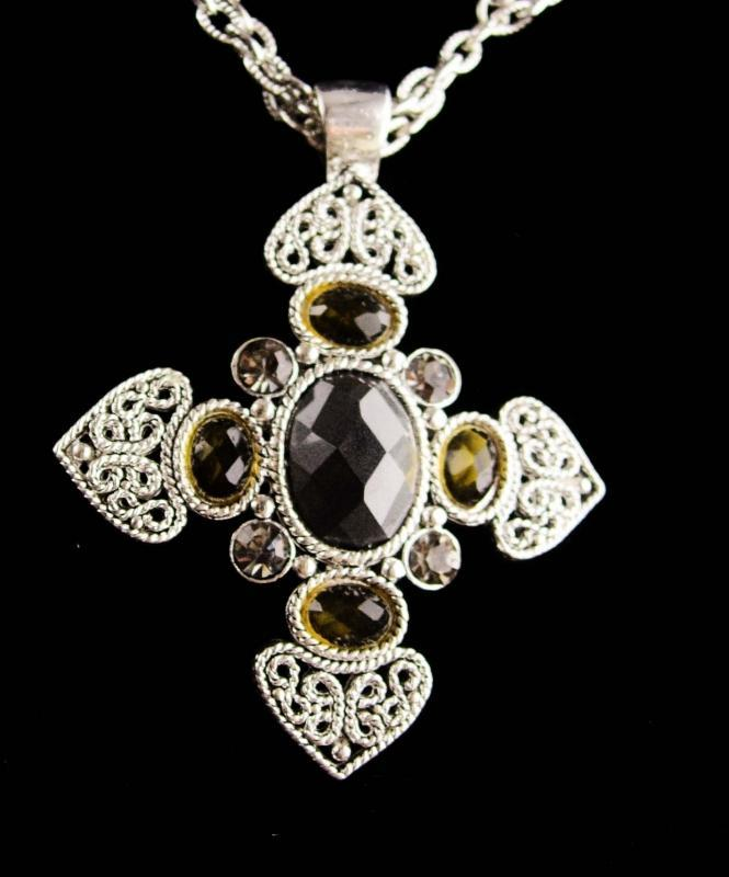Maltese Cross necklace - 2 strand necklace - signed jewelry - couture necklace - medieval celtic silver cross
