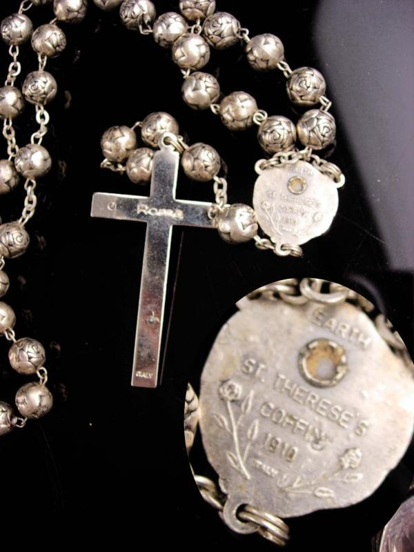 Rosary Reliquary - vintage St Therese of liseaux - COFFIN 1910 - silver rose beads - religious gift
