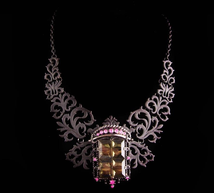 Gothic statement necklace - black rhinestone brooch - smoky topaz pink pendant - vintage gothic choker