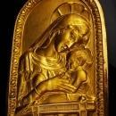 Vintage Russian Icon - religious Virgin Mary WALL madonna plaque -russian gold plate - Victorian cherub -Ornate Christian Catholic gift