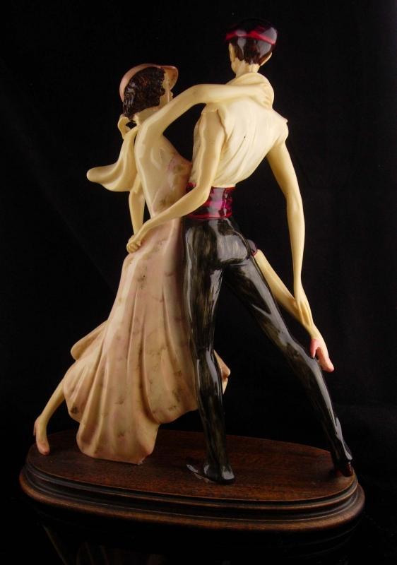 LARGE Vintage Art Deco Statue - A. Santini - TANGO dancers - ITALIAN statue - exotic female statue - numbered figurine